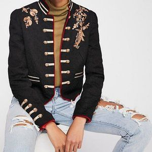 Free People Lauren Navy Band Jacket- Size Small